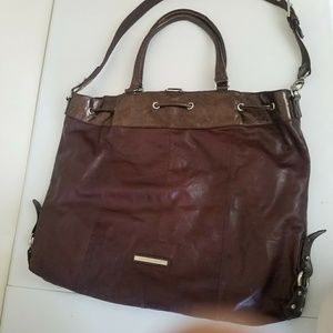 BCBG MaxAzria Jumbo Leather Shopper Tote Bag